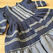 Работы для детей, handmade. Livemaster - original item Linen dress for girl