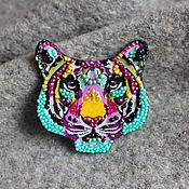 Украшения handmade. Livemaster - original item rainbow tiger brooch. Handmade.