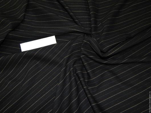 Шитье ручной работы. Ярмарка Мастеров - ручная работа. Купить Шерсть костюмная черная, Италия. Handmade. Шерсть, ткань в полоску