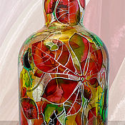 Посуда handmade. Livemaster - original item A bottle of Chestnuts, stained glass painting. Handmade.