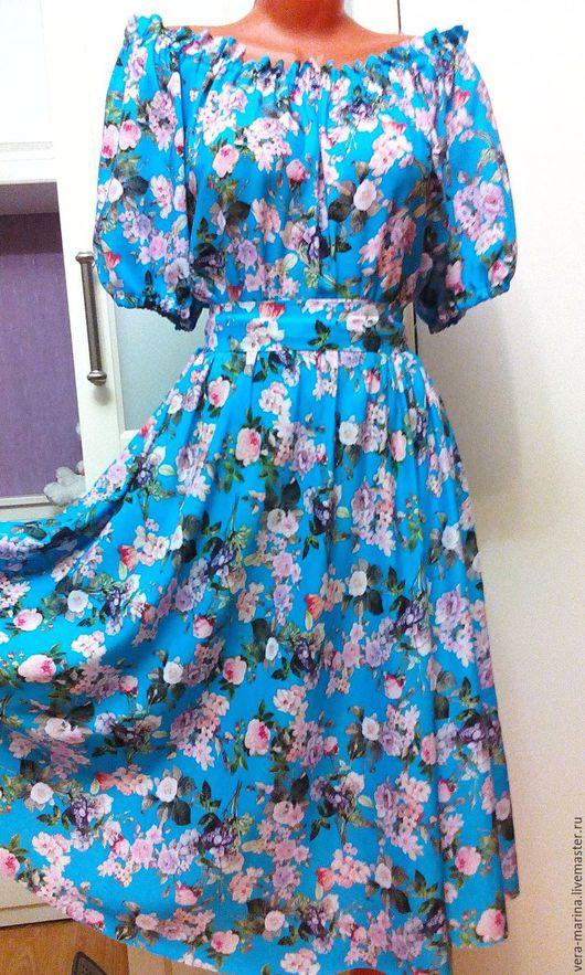 Платья ручной работы. Ярмарка Мастеров - ручная работа. Купить Штапельное платье миди Весенние цветы. Handmade. Синий, штапель