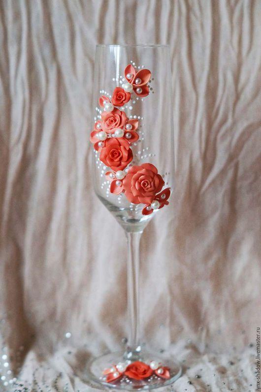 Свадебные аксессуары ручной работы. Ярмарка Мастеров - ручная работа. Купить Свадебные бокалы. Handmade. Оранжевый, бокалы для молодоженов