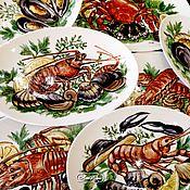 Посуда handmade. Livemaster - original item Painted porcelain. The gifts of the Mediterranean sea. Handmade.