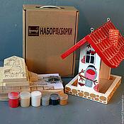 """Для дома и интерьера ручной работы. Ярмарка Мастеров - ручная работа Кормушка-самосборка """"Снегири"""" набор-конструктор с красками. Handmade."""