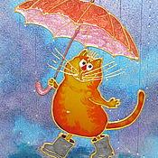 Картины и панно ручной работы. Ярмарка Мастеров - ручная работа Солнечный кот с зонтом цвета апельсина. Витражная картина.. Handmade.