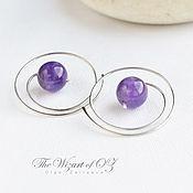 Украшения handmade. Livemaster - original item Amethyst earrings 925 sterling silver, simple earrings minimalist spiral. Handmade.