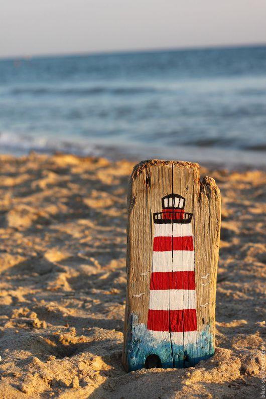 """Символизм ручной работы. Ярмарка Мастеров - ручная работа. Купить Морское панно """"Маяк"""". Handmade. Ярко-красный, море, подарок"""