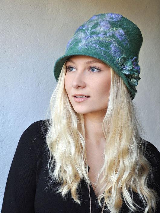 "Шляпы ручной работы. Ярмарка Мастеров - ручная работа. Купить Шляпка ""Лаванда"".. Handmade. Шапка, орнамент, цветы, дымчатый, лаванда"
