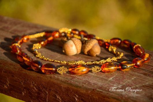 """Колье, бусы ручной работы. Ярмарка Мастеров - ручная работа. Купить Бусы """"Янтарная осень"""" из янтаря и золотого бисера. Handmade."""