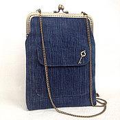 "Сумки и аксессуары handmade. Livemaster - original item Сумка-планшет ""Jeans time"" на фермуаре, джинсовая сумк. Handmade."