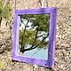 Зеркало настенное в фиолетовой раме из дерева