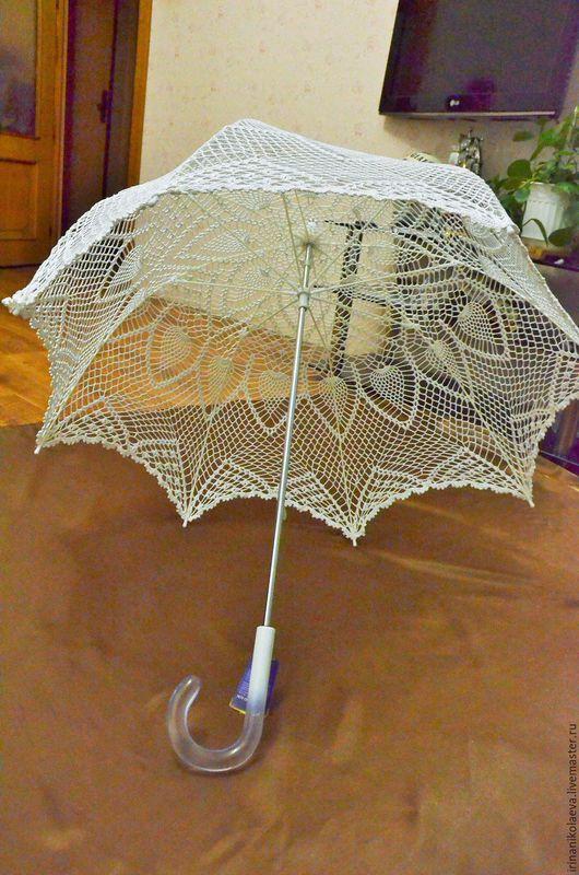 Зонты ручной работы. Ярмарка Мастеров - ручная работа. Купить Ажурный зонт связан крючком.Такой зонт подойдет для свадебных фотосесс. Handmade.