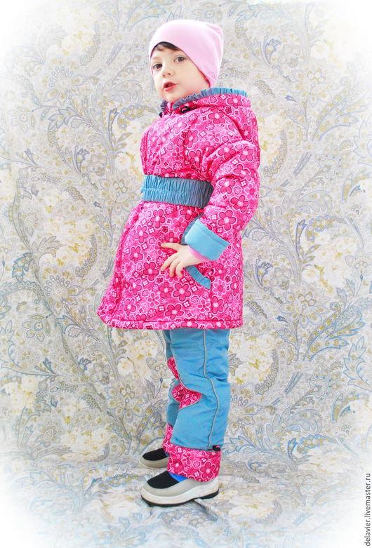 """Одежда для девочек, ручной работы. Ярмарка Мастеров - ручная работа. Купить Зимний/демисезонный комплект """"Цветочная полянка"""". Handmade. Фуксия, флис"""