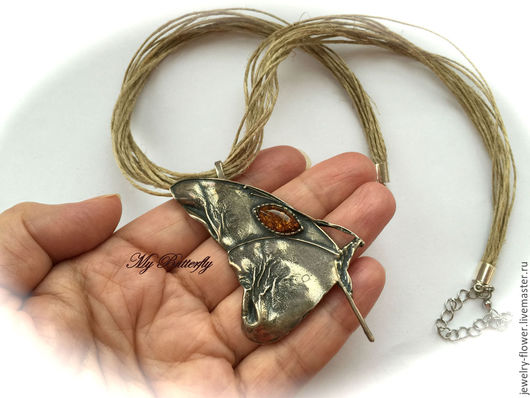 """Колье, бусы ручной работы. Ярмарка Мастеров - ручная работа. Купить Колье """"My Butterfly"""".. Handmade. Серебряный, бабочка, лён"""