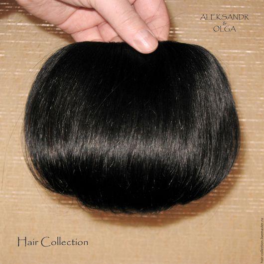 Накладная Чёлка light, шиньон - чёлка Чёрные прямые волосы
