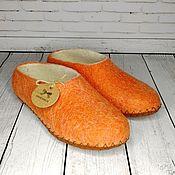 Обувь ручной работы handmade. Livemaster - original item Women`s felted orange slippers on the sole - size 38. Handmade.