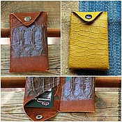 Сумки и аксессуары handmade. Livemaster - original item Business card holder made of genuine leather yellow Croco and Python. Handmade.