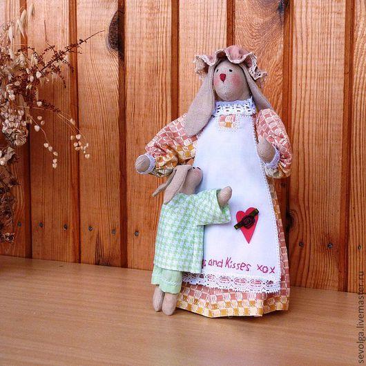 Игрушки животные, ручной работы. Ярмарка Мастеров - ручная работа. Купить Зайчиха с зайчонком (материнская любовь). Handmade. Куклы и игрушки
