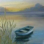 Картины и панно ручной работы. Ярмарка Мастеров - ручная работа Раннее утро на озере. Handmade.