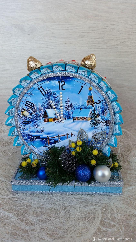 Новогодний будильник из конфет подарок презент новогодний, Букеты, Пушкино,  Фото №1