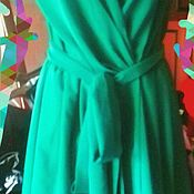 Одежда ручной работы. Ярмарка Мастеров - ручная работа Платье на запах с поясом шелк атлас габардин. Handmade.