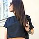 R00013 летний топ короткая кофточка черный топ черная футболка летняя одежда
