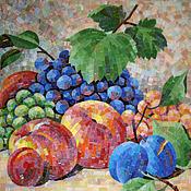 Картины и панно ручной работы. Ярмарка Мастеров - ручная работа Натюрморт с персиками (копия картины в мозаике). Handmade.