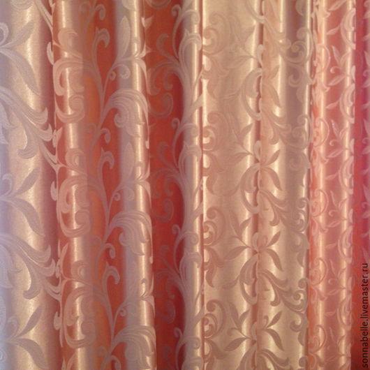 Шитье ручной работы. Ярмарка Мастеров - ручная работа. Купить Ткань для штор Жаккард Веточки Персиковый. Handmade. Комбинированный, шторы