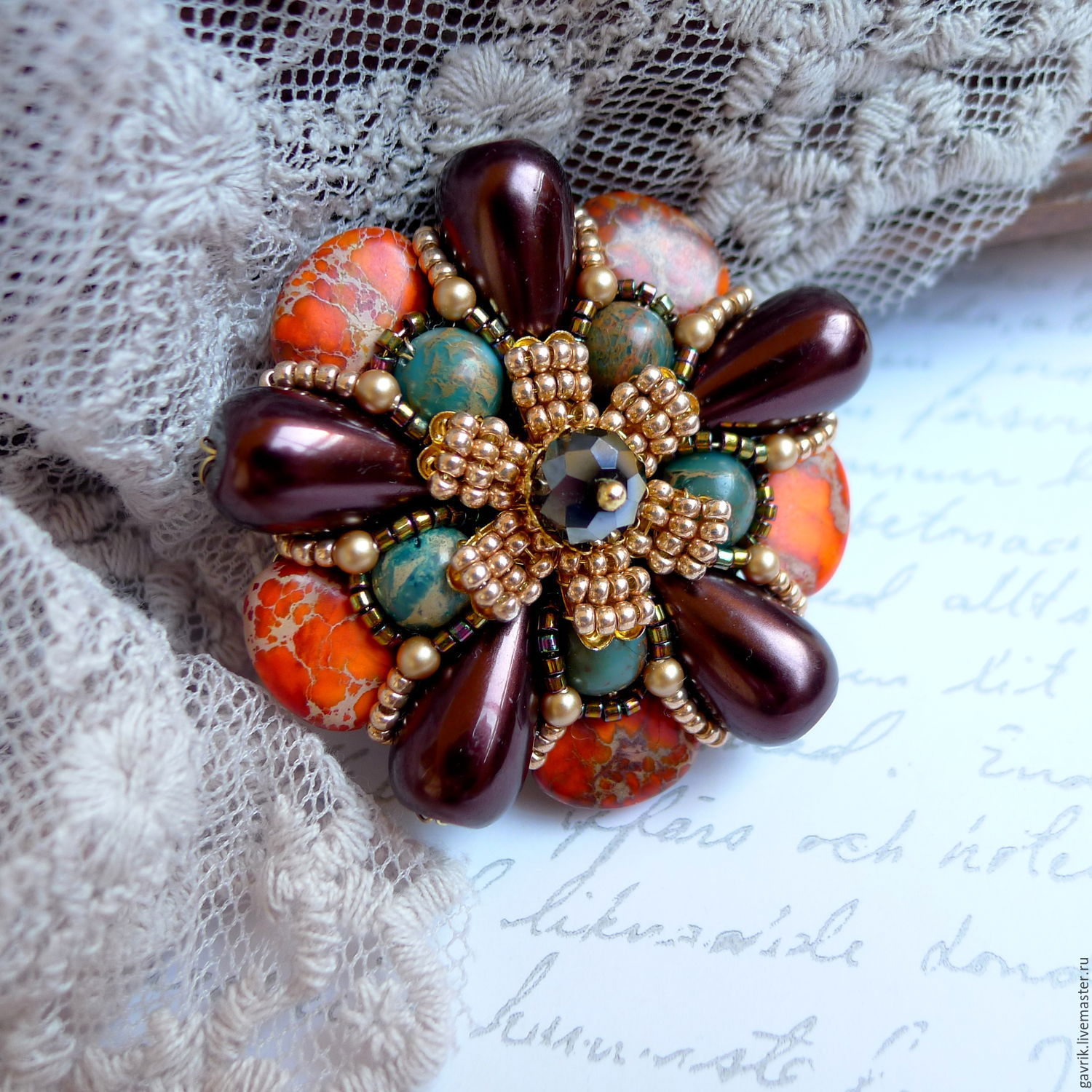 Brooch handmade `Star of Kashmir` stones and pearls Mallorca. Brooch star pin-order. The brooch on the dress, jacket, coat, stole. Gift woman, gift girl for any occasion.