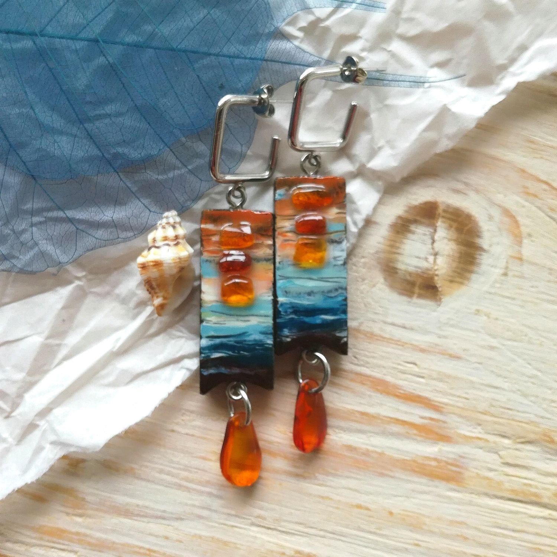 Earrings ' Sea ' with amber, Earrings, Chita,  Фото №1