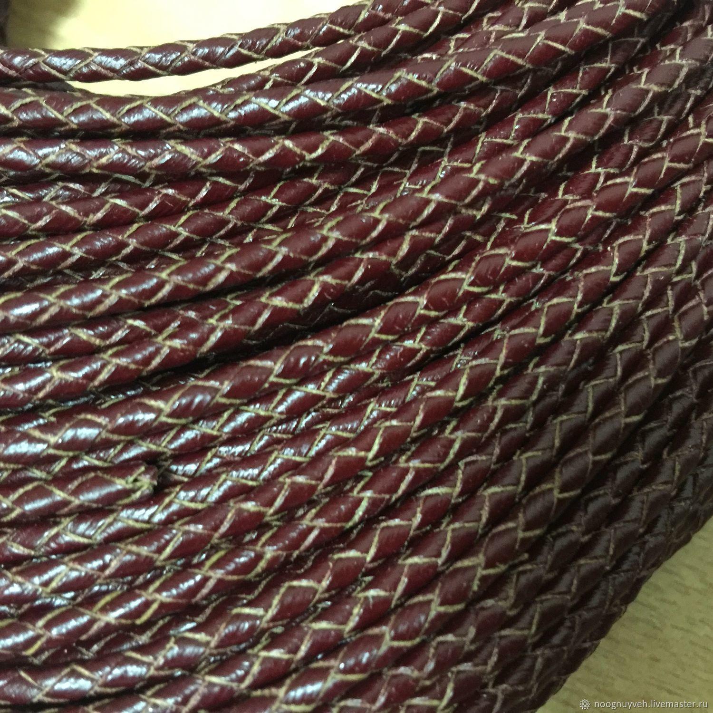 Для украшений ручной работы. Ярмарка Мастеров - ручная работа. Купить Шнур кожаный плетёный ,3 мм, бордовый. Handmade.