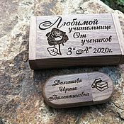 handmade. Livemaster - original item Wooden flash drive with engraving in a box, gift made of wood, usb. Handmade.