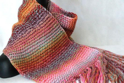 шарф, вязаный шарф, шарф вязаный, связать шарф, связать на заказ шарф, купить шарф интернет, купить шарф интернет магазин, теплый шарф, шарф с кистями, цветной шарф