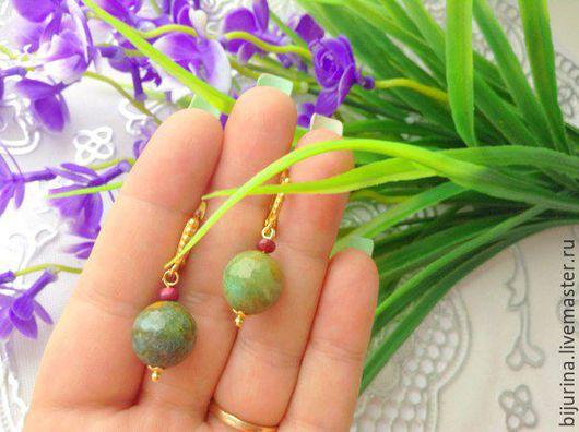 """Серьги ручной работы. Ярмарка Мастеров - ручная работа. Купить Серьги   """" Рубин в цоизите """" позолоченные. Handmade. Зеленый"""