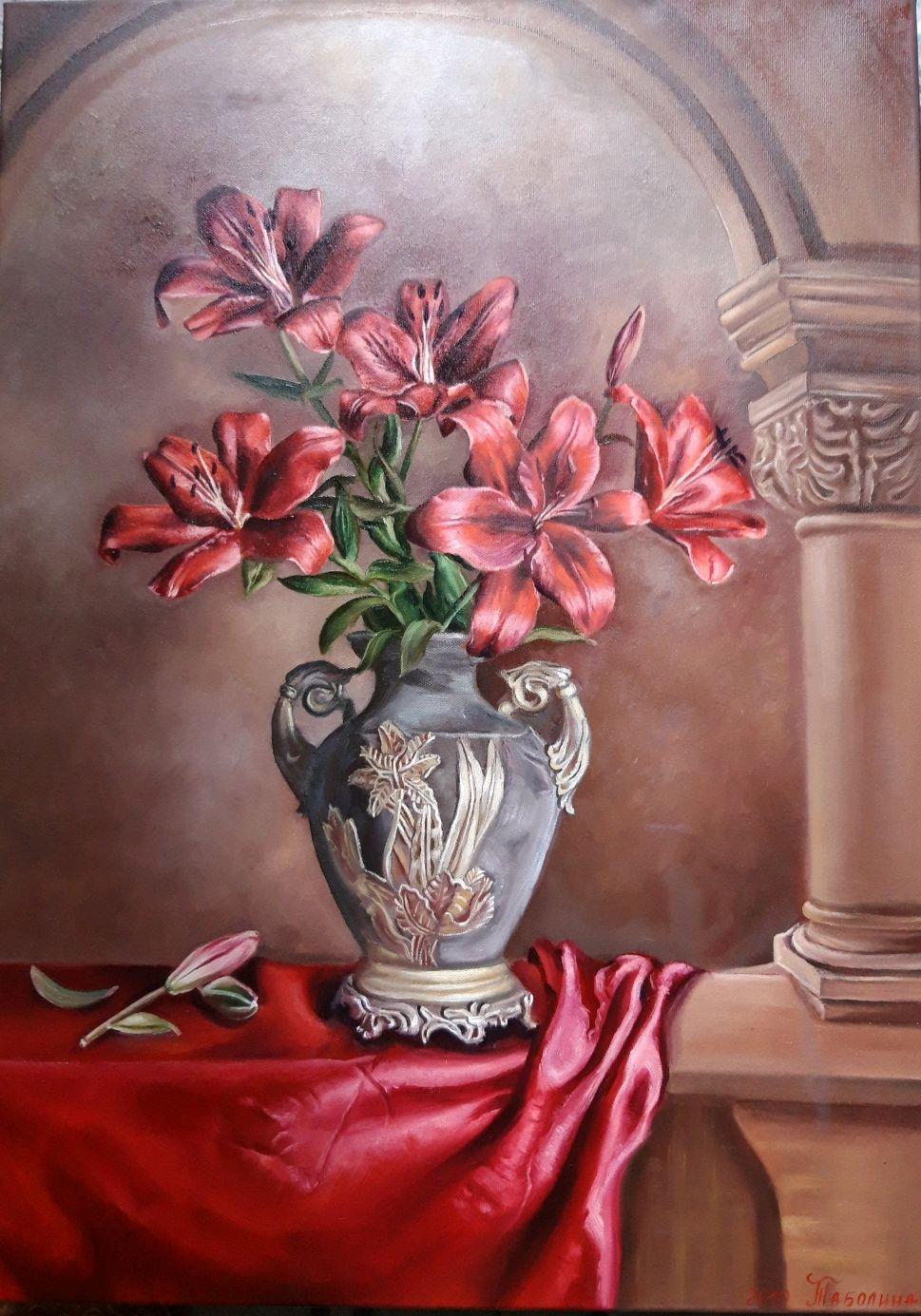 "Картина ""Лилии в вазе"". Цветы в вазе. Масло, Картины, Анапа,  Фото №1"