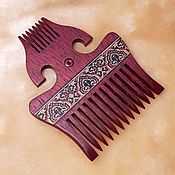Сувениры и подарки handmade. Livemaster - original item Wooden comb for hair markuetry inlay carving. Handmade.