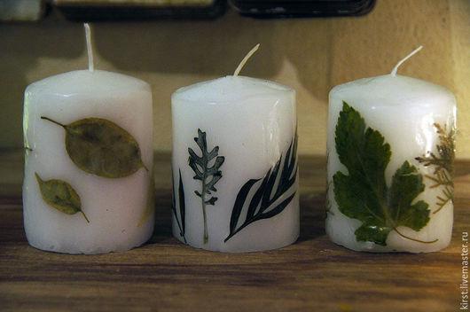 Свечи ручной работы. Ярмарка Мастеров - ручная работа. Купить Свечи с сухими растениями. Handmade. Белый, травы, сухие травы
