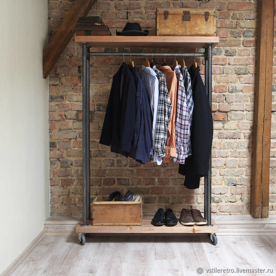 London-loft style rail on wheels with two shelves, Hanger, Moscow,  Фото №1