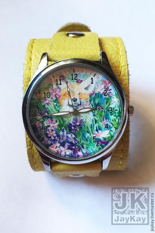 """Часы ручной работы. Ярмарка Мастеров - ручная работа. Купить Часы наручные JK """"Лис"""" в лимонном. Handmade. Часы"""