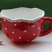 Посуда ручной работы. Ярмарка Мастеров - ручная работа Чашка красная, горошки белые. Handmade.