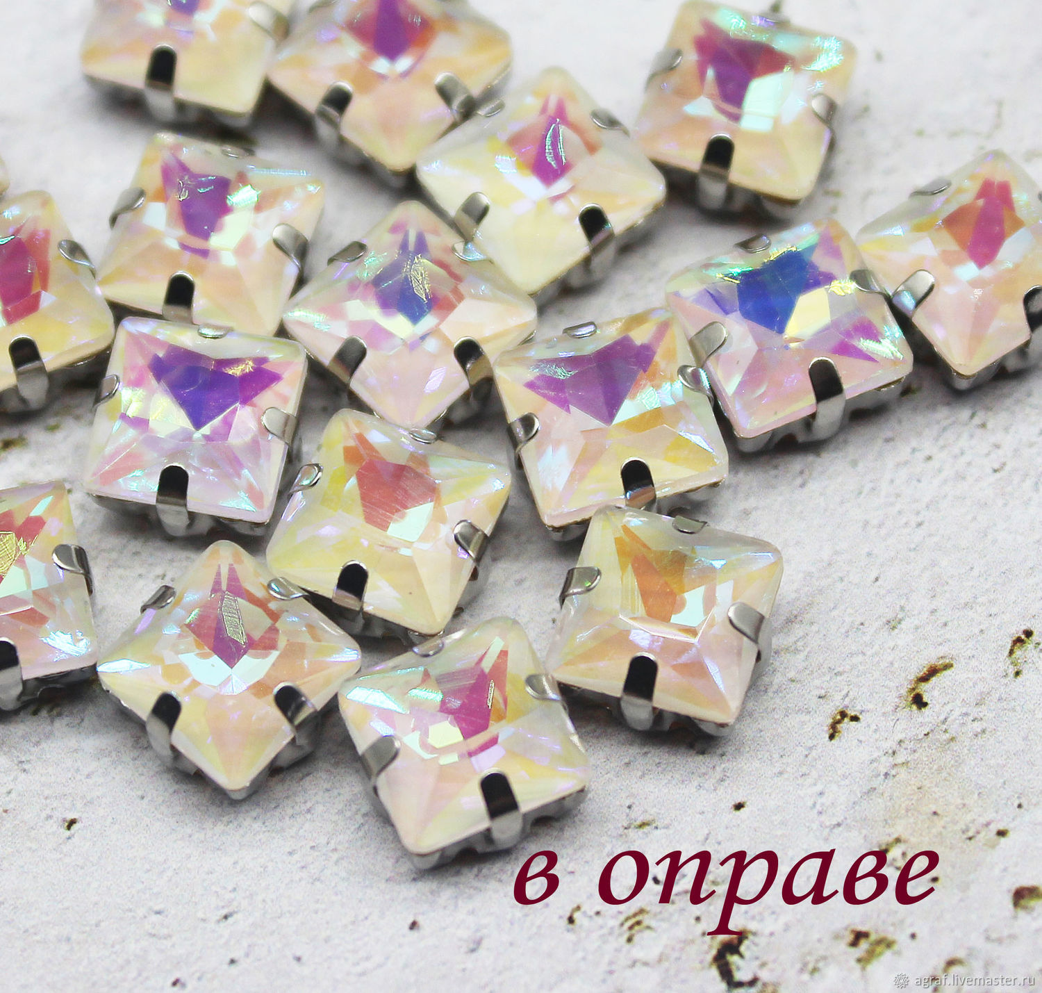 Rhinestones in caps 8 mm square Evening dandelion, Crystals, Solikamsk,  Фото №1
