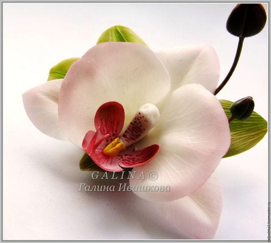 """Заколки ручной работы. Ярмарка Мастеров - ручная работа. Купить Заколка-брошь  """"Белая орхидея"""".  Холодный фарфор.. Handmade."""