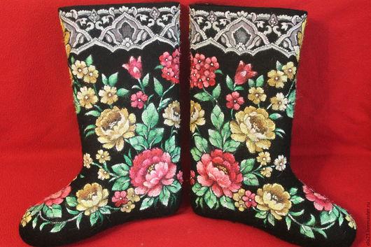 Обувь ручной работы. Ярмарка Мастеров - ручная работа. Купить к платку-6. Handmade. Черный, цветы, русский стиль, валенки