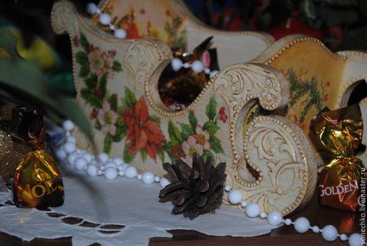 Новый год 2017 ручной работы. Ярмарка Мастеров - ручная работа. Купить Сани новогодние. Handmade. Комбинированный, деревянные заготовки, картинка
