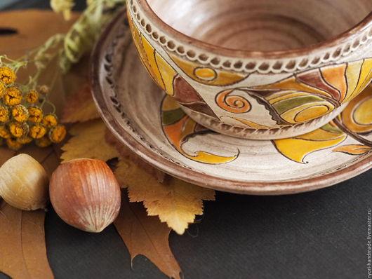 """Сервизы, чайные пары ручной работы. Ярмарка Мастеров - ручная работа. Купить Чайная пара """"Лоскутная осень"""" Керамика.. Handmade."""