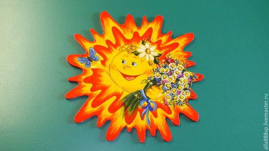 Детская ручной работы. Ярмарка Мастеров - ручная работа. Купить Панно из дерева Летнее солнышко. Handmade. Солнце, Роспись по дереву