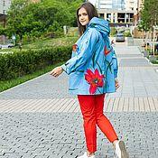 Одежда handmade. Livemaster - original item Summer cotton jacket bright blue. Handmade.