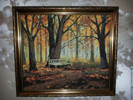 Пейзаж ручной работы. Ярмарка Мастеров - ручная работа. Купить Осень. Handmade. Оранжевый, картина, вышивка, Вышивка крестом, мулине