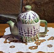 "Посуда ручной работы. Ярмарка Мастеров - ручная работа Керамика ручной работы: чайник ""Лаванда"". Handmade."