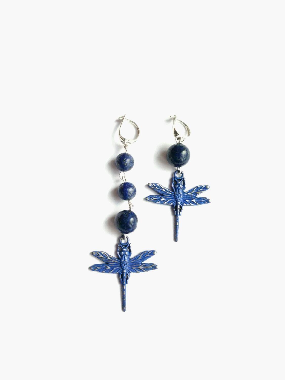 Silver asymmetrical dragonfly earrings with lapis lazuli, Earrings, Moscow,  Фото №1